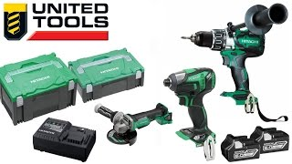 "Hitachi Brushless 18V 3 Pce kit - Hammer Drill, IP56 Impact Driver & 5"" Grinder - kc18ddbl(ah)"