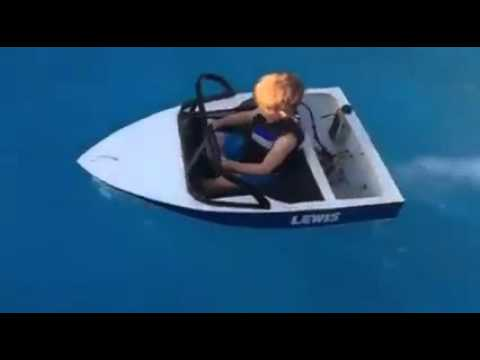Little Dude Driving Boat In Pool Youtube