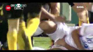 Repeat youtube video Soccer Player Grabs Opponents Junk