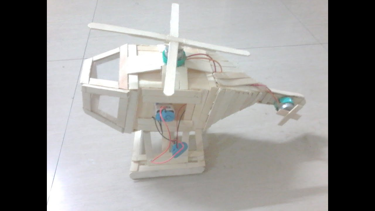 Electric helicopter model with ice sticks with dc motors for Science projects using motors