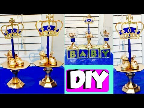 Inexpensive DIY Royal Prince Party Centerpieces   DIY Baby Shower ideas (dollar store edition)