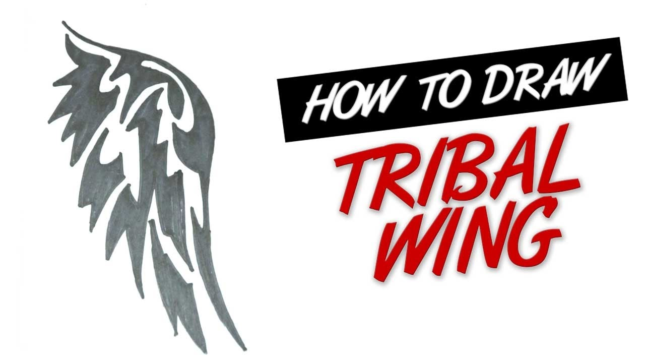 How To Draw Wing Tribal Tattoo Design 1 Youtube