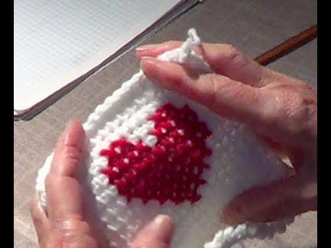 Cross Stitch Heart Over Afghan Tunisian Youtube