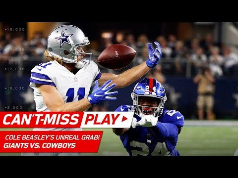 Cole Beasleys BehindtheBack, OneHanded Grab!  CantMiss Play  NFL Wk 1 Highlights