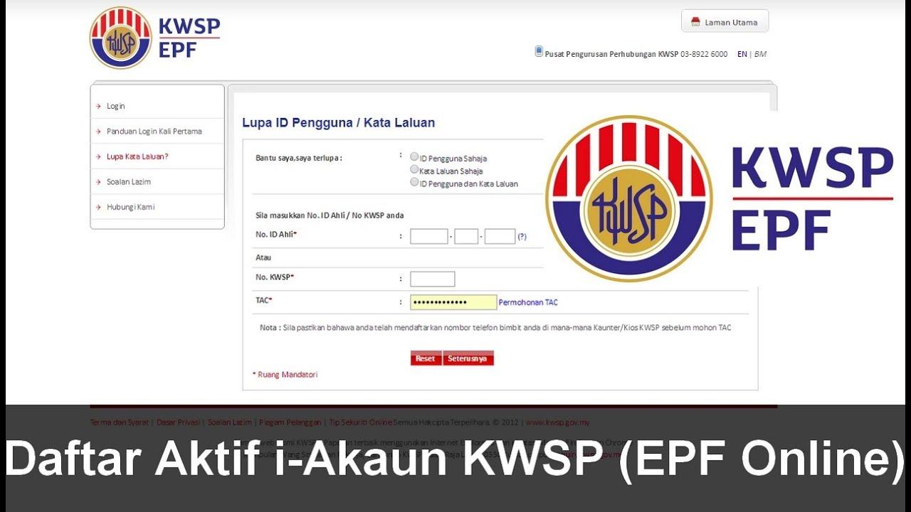 Cara Daftar Aktif I Akaun Kwsp Epf Online Youtube