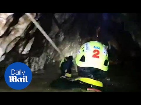 Headcam footage shows tough Thailand cave rescue conditions - Daily Mail