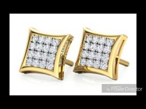 eb3ed38f61a Latest designs of 18Kt yellow gold with diamond ear studs - YouTube
