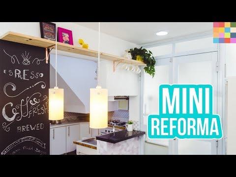 REFORMA DA COZINHA (anexo) ☕️ Prateleira econômica, adesivos de parede, banqueta alta e tapete