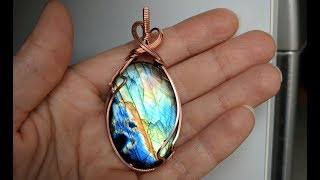 Asymmetrical Zig Zag Cabochon Pendant Wire Wrap Tutorial Beginner