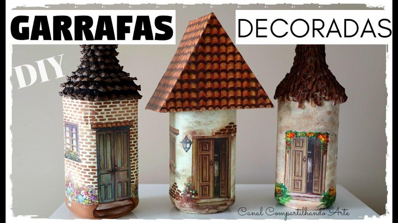 Diy Garrafas Decoradas Casinhas Artesanato Do Compartilhando Arte