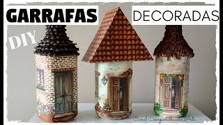 DIY GARRAFAS DECORADAS CASINHAS