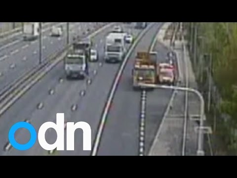 Shocking CCTV: Recovery driver narrowly avoids death after lorry collision