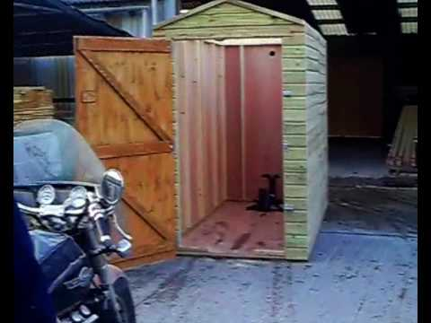 Motorbike garage youtube for Motorcycle garage plans