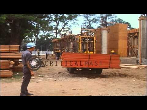 American construction personnel work during the construction of the US Embassy in...HD Stock Footage