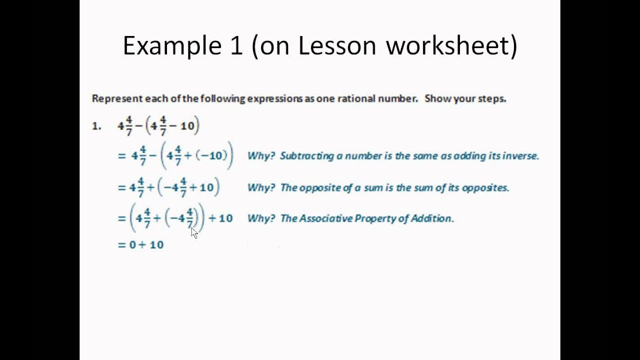 09 Applying Properties To Adding And Subtracting Rational