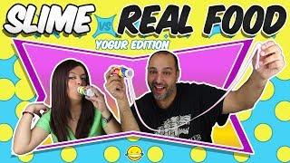 SLiMe vs Real Food YoGuR Edition!! DrInK  sLiMe vs CoMiDa y BeBidA ReAl!! MoMeNtOs DiVeRtIdOs