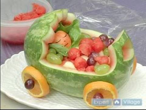 How to carve fruit centerpieces displaying a baby - How to slice strawberries for decoration ...