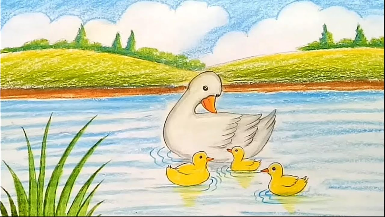 How To Draw Scenery Of Mother Duck And Little Ducklings Swimming In The Pond Youtube
