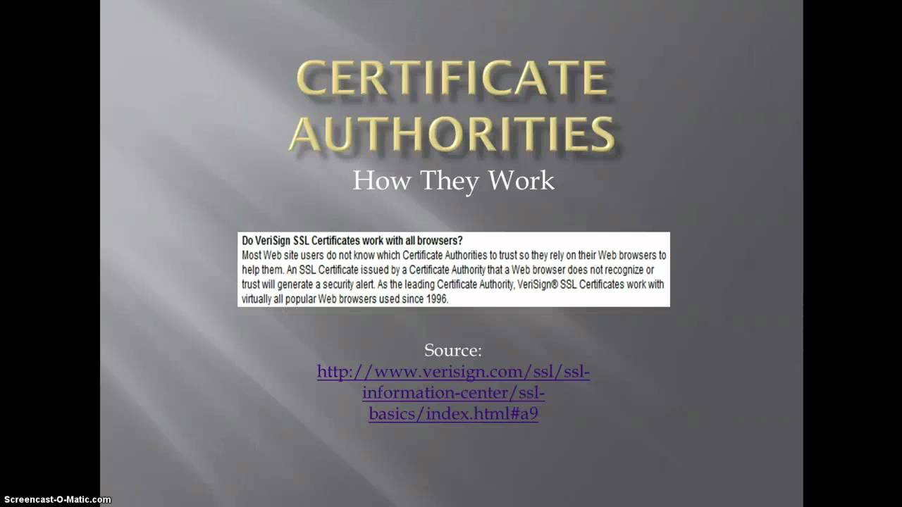 Certificate Authority Discussion - Part 1 - YouTube