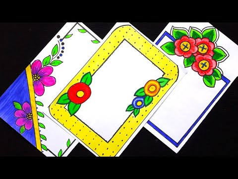 3 in one simple border design for project /simple border designs for assignments/saree border design