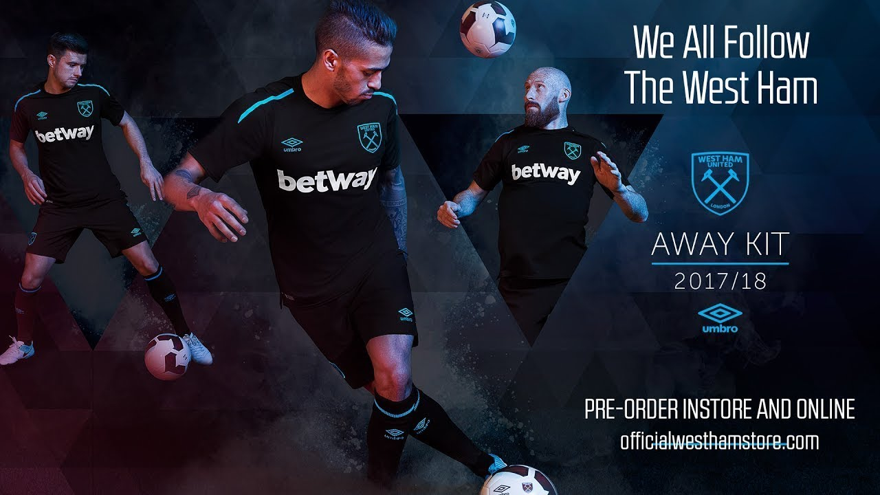 new product e09ae 3e758 WEST HAM UNITED 2017/18 FIRST EVER BLACK AWAY KIT! ⚒