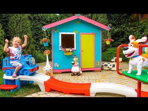 Живые Игрушки у Насти и Детская Площадка Funny Home Outdoor Playground for kids with a lot of toys