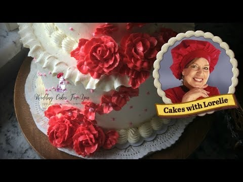 Buttercream Cake Decorating / Red Roses And Pink Swiss Dots
