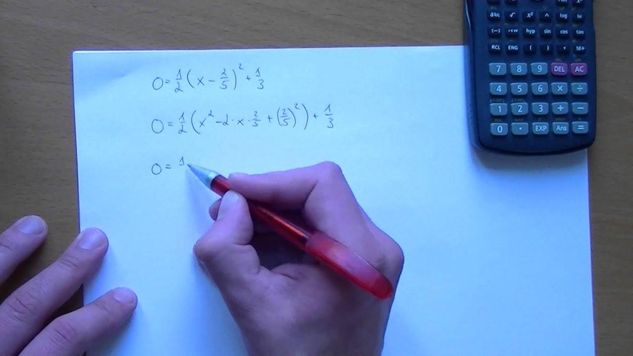 Scheitelpunktsform zur allgemeinen Form umformen - quadratische ...