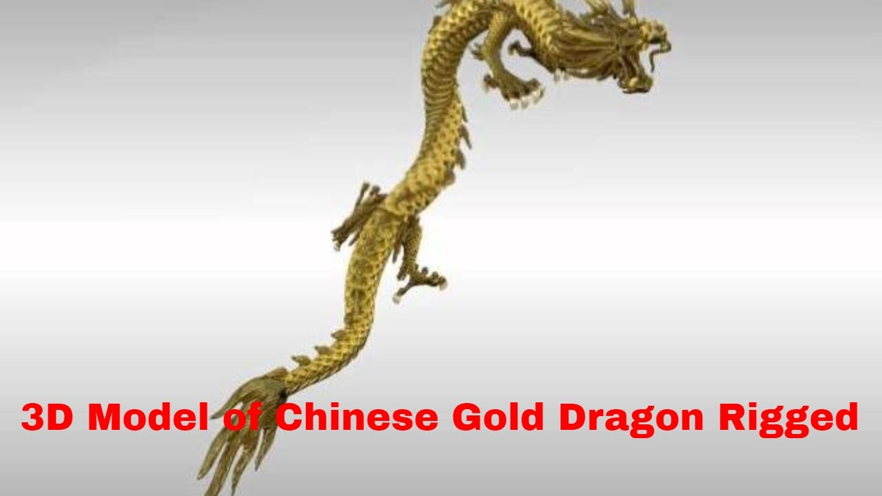 3d model of chinese gold dragon rigged youtube