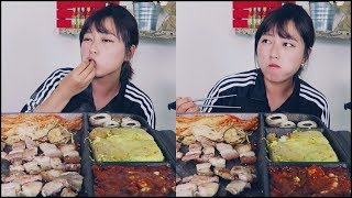 Korean Style Grill Mukbang (steamed eggs, mushrooms, soybean paste soup~)