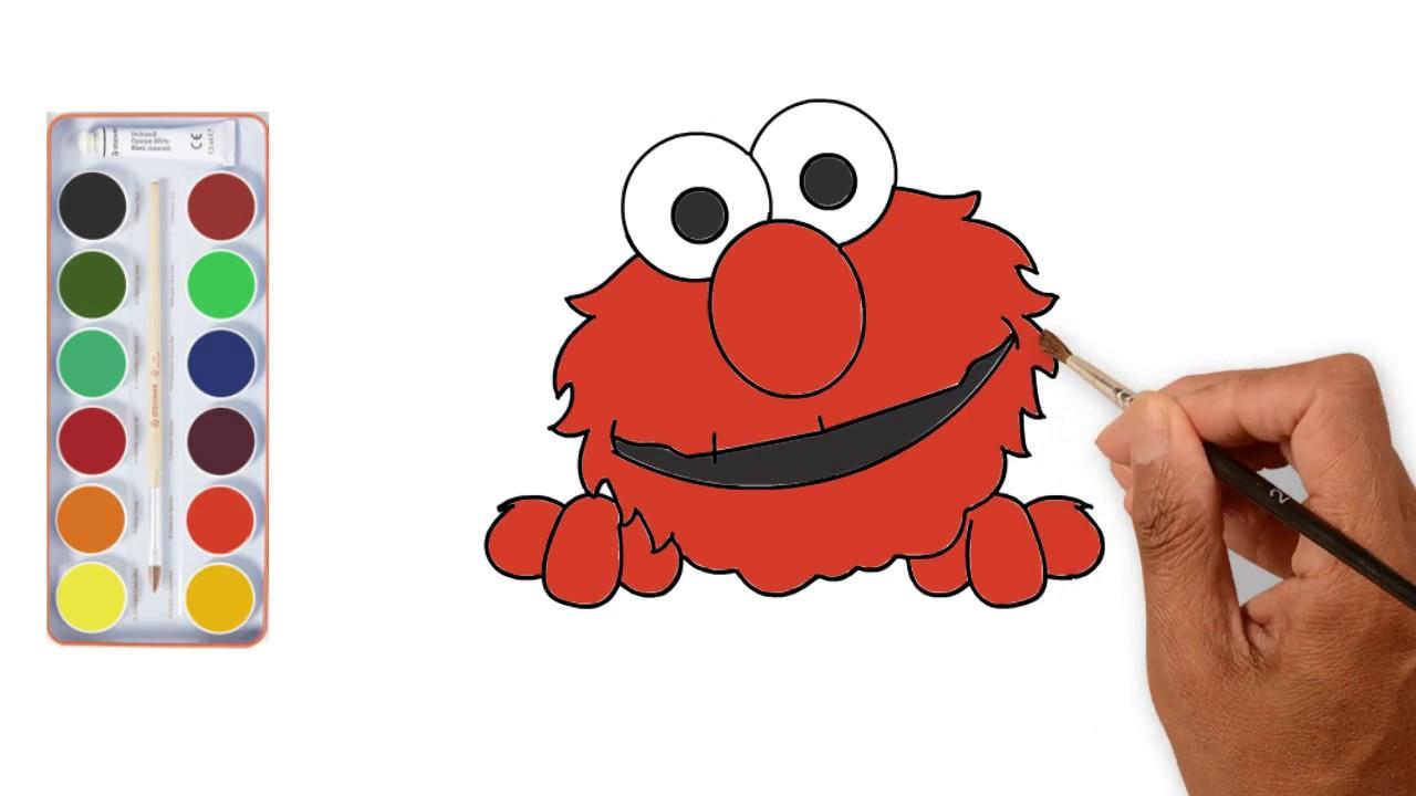 Onwijs Hoe kleur en tekening van Elmo te tekenen | Kleurpagina KW-41