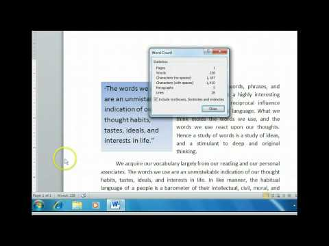 Word 2010 - Check Word, Paragraph, And Character Counts - Microsoft Office 2010 Training