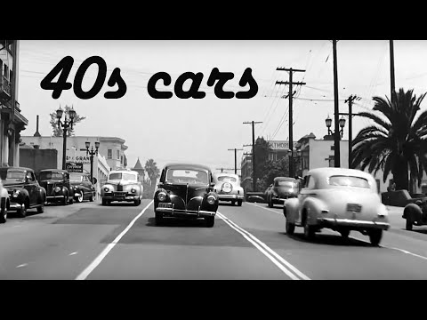 1940s cars, cities and traffic footage
