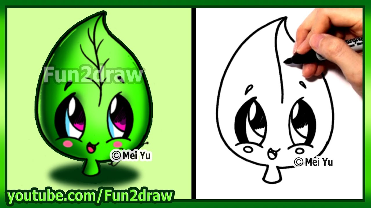 How to draw cute easy leaf earth day fun2draw youtube for Easy to draw earth