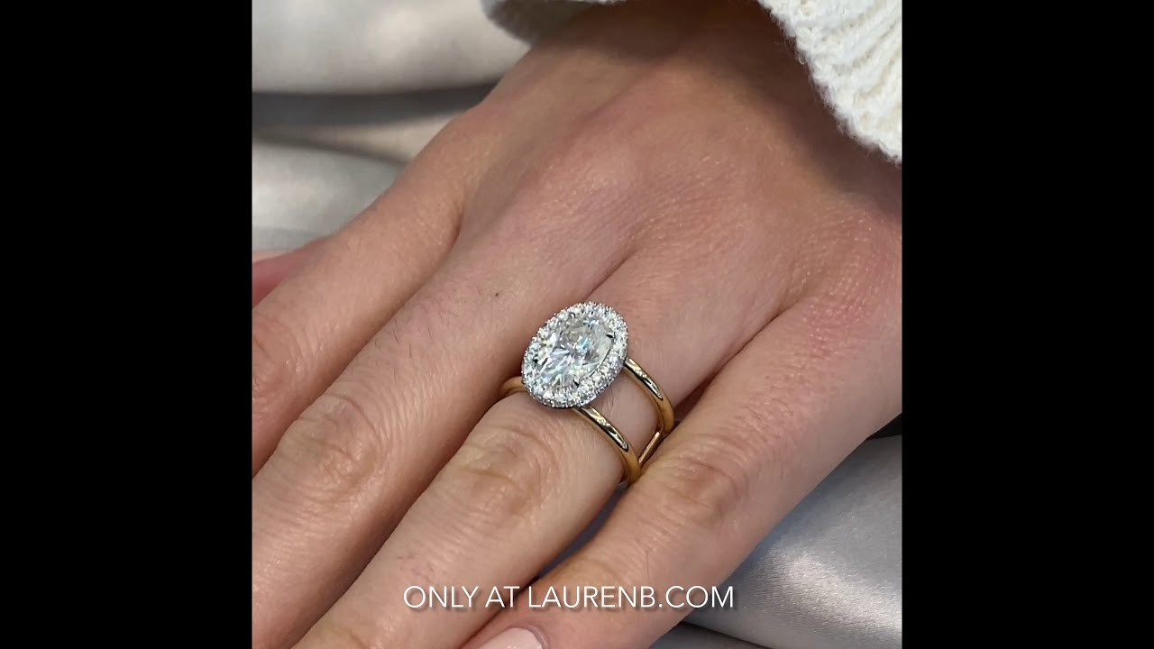 Oval Moissanite Double Edge Halo Wide Split Ring