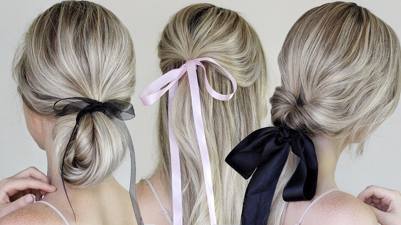 Simple Easy Hairstyles Incorporating Bows Ribbon Youtube