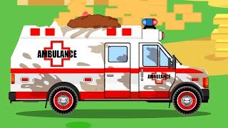 White Ambulance Car Rescue in the City w Tow Truck - Animation Cars & Trucks Cartoon for children