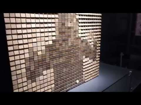 Interactive Art: Wooden mirror by Daniel Rozin at the Perot Museum in Dallas