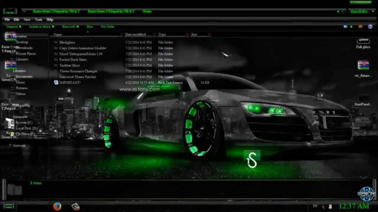 RAZER GREEN Windows 7 theme - YouTube