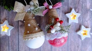 Елочные игрушки из лампочки в эко стиле/новогодние игрушки своими руками