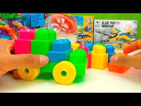 juego de bloques de colores carro y nmeros para nios