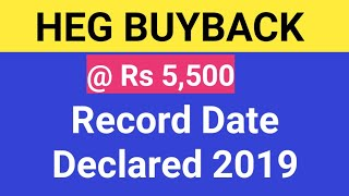 HEG BUYBACK @ Rs 5,500 Record Date 2019 Declared by Company