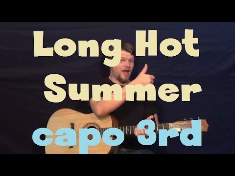 Long Hot Summer (Keith Urban) Easy Guitar Lesson Chords Solo TAB How to Play Capo 3rd Fret