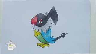 Drawing Pokemon 441: Chatot ペラップ