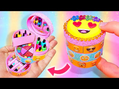 DIY Miniature EMOJI Cosmetics Or Emoji Makeup Kit Box || Eyeshadow, Nail Polish