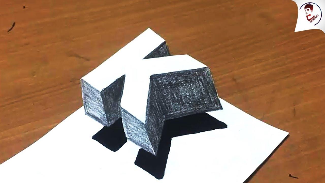 Làm NTN để vẽ chữ K 3D NỔI TRÊN MĂT GIẤY Siêu Ảo