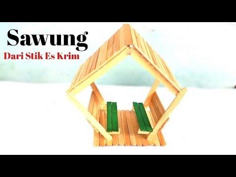 Cara Membuat Miniatur Sawung Dari Stik Es Krim