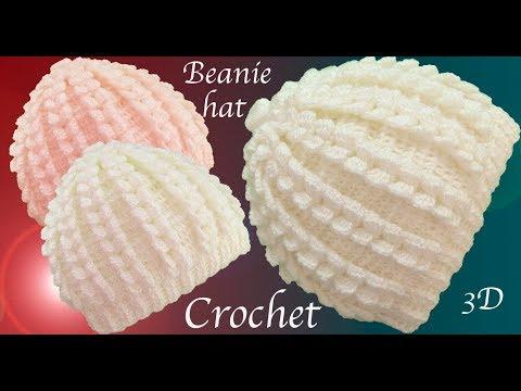 Gorro a Crochet punto trenzas verticales en 3D tejido tallermanualperu
