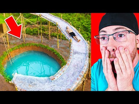 He Built a HUGE Water Slide in THE JUNGLE!