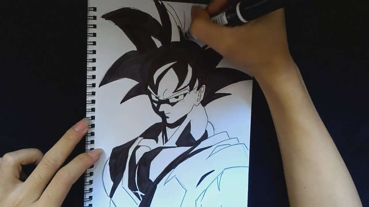 Drawing goku dragon ball black white 5 youtube